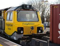 Freightliner 70020 close-up, passing through Didcot on 5 February 2013.<br><br>[Peter Todd 05/02/2013]
