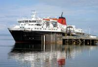 MV 'Caledonian Isles' berthed at Brodick, Arran, following the crossing from Ardrossan on 21 July 2011.<br><br>[John Steven&nbsp;21/07/2011]