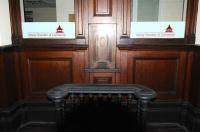 The magnificent woodwork around the booking hall ticketing hatch at Elgin East in February 2013. Sadly too late to purchase a single to Boat of Garten. As it says on the window, now the office of Moray Chamber of Commerce.<br><br>[Brian Taylor&nbsp;07/02/2013]