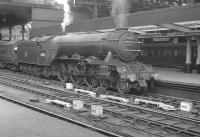 A3 Pacific no 60074 <i>Harvester</i> stands at Newcastle Central on 22 July 1961 after bringing in the summer Saturday 5.20am Leicester London Road - Craigendoran.<br><br>[K A Gray&nbsp;22/07/1961]
