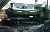 5700 class ex-GWR pannier tank no 5764 in the shed yard at Bridgnorth on the Severn Valley Railway in 1974. <br><br>[Colin Miller&nbsp;//1974]