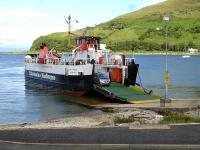 The MV <I>Loch Tarbert</I> off-loads its sole vehicle on arrival at Lochranza from Claonaig in June 2012. The return journey had a full load - with our vehicle alarm operating twice on the crossing to provide additional entertainment. [See image 41909]<br><br>[David Pesterfield&nbsp;19/06/2012]