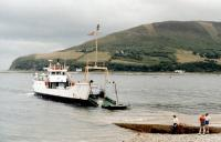 Incarnation of the ferry MV <i>Rhum</i> at Lochranza in 1984. Great fun to watch drivers who couldn't reverse trying to disembark. <br><br>[Colin Miller&nbsp;//1984]