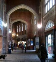 Ye Olde WHS: the entrance to Temple Meads from Brunel's train shed looks rather like something that Henry VIII would have set fire to - a monastery, that is. Notice the alien dog on the left.<br><br>[Ken Strachan 10/02/2013]