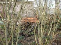 A buffer stop sits amidst an almost impenetrable forest which has taken over the two disconnected sidings behind the old northbound platform on the Margam line at Tondu in January 2012. [See Image 18266] <br><br>[David Pesterfield&nbsp;31/01/2012]