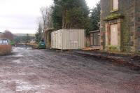 Looking south past the boarded up station house at Fountainhall on 16 February with the old platform and water tower base exposed. This will be the central work depot of three along the route. [See image 26237]<br><br>[Bill Roberton&nbsp;16/02/2013]