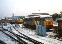 Scene on the east side of a snow covered Derby Station on 11 February 2013. Nearest the camera is 56301, while in the background 97304 on a Network Rail test train stands alongside 31190.<br><br>[David Pesterfield&nbsp;11/02/2013]