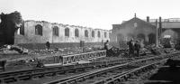 The remains of the straight shed at 52D Tweedmouth during demolition on 4th May 1968. The roundhouse in the right background still survives in 2013, albeit now derelict following a fire some years ago. [See image 40716]<br><br>[Bill Jamieson&nbsp;04/05/1968]