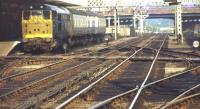 Looking through Lincoln station in October 1974 as a class 31 prepares to leave with a TPO service destined for Newcastle.<br><br>[Ian Dinmore&nbsp;03/10/1974]
