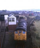 A Class 24 shunts Invergordon goods yard in summer 1973. This sub-class with no headcode panel was an unusual sight in the Highlands. At the time Invergordon boasted an Area Manager's office controlling extensive freight business from the nearby aluminium smelter and North Sea oil-related traffic as well as domestic coal, whisky, barley, malt, steel and potatoes - up to three local freight trips between Inverness and Invergordon daily.<br><br>[David Spaven&nbsp;//1973]