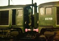 D5705+D5709 photographed at Polmadie shed on 16 May 1959 with their front doors open. The maker's plate on the side of D5705 reads <I>Metropolitan-Vickers 1958</I>. D5705 is the only one of the class to have been preserved and can be found on the East Lancashire Railway. [See image 18211]<br><br>[A Snapper (Courtesy Bruce McCartney)&nbsp;16/05/1959]