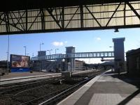 Platform view south from Perth station on 25 February showing the new accessible footbridge [see image 42182].<br><br>[John Yellowlees&nbsp;25/02/2013]