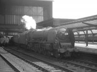Stanier Coronation Pacific no 46250 <I>City of Lichfield</I>, recently arrived at Carlisle on 25 July 1964 with a Saturday Birmingham New Street - Glasgow Central relief working.<br><br>[K A Gray&nbsp;25/07/1964]