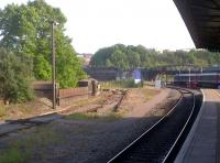 The sad remains of the tracks leading into the former Bath Road shed (82A), seen from the platform at Temple Meads station in May 2012. The depot finally closed in September 1995 when remaining operations were transferred to St Philip's Marsh.  [See image 20985]<br><br>[Ken Strachan&nbsp;27/05/2012]