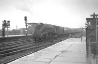 Gateshead A4 no 60001 <I>Sir Ronald Matthews</I> about to run south through a rain soaked Doncaster station on the centre road. The train is the 12.5pm Newcastle Central - London Kings Cross and the date 11 April 1963.<br><br>[K A Gray&nbsp;11/04/1963]