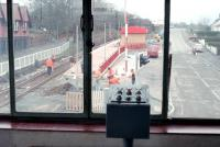 View from the signalbox of the level crossing at Balloch Central in 1988 with work on the new station almost complete. The control panel for the crossing barriers is in the centre foreground. [See image 8333]<br><br>[Ewan Crawford&nbsp;//1988]