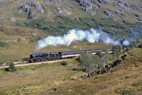 The Stephenson valve gear Black 5, No. 44767, forges uphill west of Glenfinnan towards the watershed between Loch Shiel and Loch Eilt on 5th September 1993.<br><br>[Bill Jamieson&nbsp;05/09/1993]