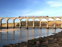 A down CrossCountry service on the Royal Border Bridge, Berwick upon Tweed, 2 Mar 2013. <br><br>[Brian Taylor&nbsp;02/03/2013]