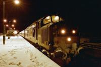 The southbound sleeper from Fort William stands at Crianlarich in 1995. Photographed from a cold and lonely platform while hillwalking pals went off to the pub for a drink by a warm fire!<br><br>[Ewan Crawford&nbsp;//1995]