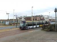 Passing the Blackpool Solarium, heading for the Starr Gate terminus in January 2013, is <I>Flexity</I> 013 on a service from Fleetwood Ferry. The <I>Art Deco style</I> Solarium was derelict for many years but is now an Eco Centre with cafe, park, exhibition and conference centre. <br><br>[Mark Bartlett&nbsp;26/01/2013]