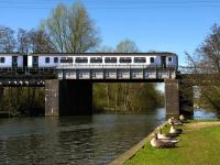 A 'Bittern Line' train crossing the River Bure at Wroxham in April 2010.<br><br>[Ian Dinmore&nbsp;17/04/2010]