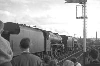 Black Fives 44871+44781 at Blackburn with the BR <I>'Fifteen Guinea Special'</I> on its way back from Carlisle to Manchester and Liverpool on 11 August 1968. The special was advertised by BR as <I>the final standard gauge main line passenger train to be hauled by a steam locomotive on British Rail</I> (the BR main line 'steam ban' came into force the following day). [See image 26044] <br><br>[K A Gray 11/08/1968]
