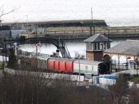 View from a hilltop location showing a quiet Boness Stn and Signalbox. <br><br>[Colin Harkins&nbsp;12/03/2013]