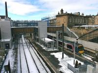 Looking west over Haymarket Station from Dalry Road on 12 March with major building work in progress.<br><br>[Bill Roberton&nbsp;12/03/2013]
