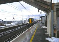 The 15.50 Glasgow Central - North Berwick service arrives at Carluke on 12 March. <br><br>[John Yellowlees&nbsp;12/03/2013]