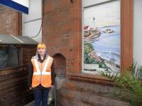 Artist Andrea Keys with her painted window at Ayr Station on 14 March 2013.<br><br>[John Yellowlees&nbsp;14/03/2013]