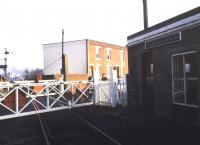 The level crossing at Ranelagh Road, Ipswich, in December 1989, looking east along the branch serving Ipswich Docks [see image 32104]. <br><br>[Ian Dinmore&nbsp;02/12/1989]