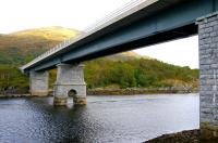 The former railway viaduct over Loch Creran on the Ballachulish branch, converted in the late 1990s to carry road traffic on the A828. View north in September 2005. [See image 42388].<br><br>[John Furnevel&nbsp;29/09/2005]