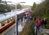 There's an up HST on the left, the Pathfinder 'Hullaba-Looe' on the right, and the Looe line around the corner. What does the station layout here at Liskeard remind me of? [see image 42314]<br><br>[Ken Strachan&nbsp;10/02/2013]