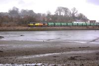 Colas Rail 66847 leads the 6D71 Linkswood - Grangemouth empties past Newmills on 20 March.<br><br>[Bill Roberton&nbsp;20/03/2013]
