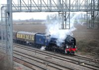 A1 Pacific no 60163 'Tornado' in the loop on the site of Challow Station on 21 March taking water from a nearby fire tender. The train is the Peterborough - Bristol Temple Meads <I>Cathedrals Express</I>. <br><br>[Peter Todd&nbsp;21/03/2013]