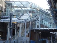The new glazed entrance from Market Street and steps from the west side car park seen from platform 9 at Waverley Station in February 2013.<br><br>[David Pesterfield&nbsp;04/02/2013]