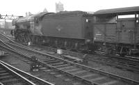 A3 Pacific no 60088 <I>Book Law</I> is relegated to cattle train haulage in this scene on the goods lines alongside Newcastle Central station in the early 1960s. 60088 was withdrawn from Gateshead shed in October 1963.<br><br>[K A Gray&nbsp;//]