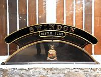 Nameplate from Castle Class 4-6-0 no 7037 <i>Swindon</i> on display at Swindon Steam Museum on 20 March 2013.<br><br>[Peter Todd&nbsp;20/03/2013]