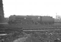 Rebuilt Bulleid 'Merchant Navy' Pacific no 35011 <I>General Steam Navigation</I> photographed in the shed yard at Nine Elms in the summer of 1961.<br><br>[K A Gray&nbsp;21/08/1961]