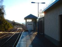 The signal box at Glenfinnan, looking east along the down platform on 20 February 2013.<br><br>[David Pesterfield&nbsp;20/02/2013]