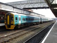 Arriva Trains Wales 158818 at Shrewsbury on the rear of the 6-car 11.33 service on to Birmingham International. The train reverses here following arrival off the Cambrian Coast line.  <br><br>[David Pesterfield&nbsp;27/03/2013]