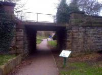 Turning left from the previous view of the Handyside bridge [see image 42175], this underbridge allowed access to the Handyside foundry sidings [behind the photographer]. There were points to the left of the brick building seen through the arch; the chord to the GNR was approximately on the line of the second tarmac path seen on the left. The angle is deceptive - the path runs up the slope at about a 45 degree angle.<br><br>[Ken Strachan&nbsp;21/02/2013]