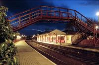 Looking south at the old station building at Huntly one evening in 1997.<br><br>[Ewan Crawford&nbsp;//1997]