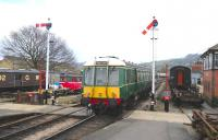 Single Car DMU W55003 at Winchcombe on 29 March 2013.<br><br>[Peter Todd&nbsp;29/03/2013]
