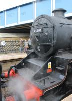 The results of being second loco of the double headed <I>Tin Bath</I> charter are evident on the smokebox of Black 5 45407. Together with 44871 they had already tackled several gradients when the train called at Brighouse for water. No doubt after Copy Pit and Sough inclines on the next stage there would be a lot of work for the cleaners back at Bury. <br><br>[Mark Bartlett&nbsp;18/03/2013]