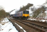 In the early stages of the journey from Buxton to Blackpool, Northern 150145 drifts downhill from Dove Holes between Barmoor Clough and Eaves tunnels on 1 April 2013. <br><br>[John McIntyre&nbsp;01/04/2013]