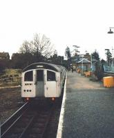 A Central Line shuttle to Epping stands at Ongar in the autumn of 1994 during the final week of LT operations over the line.<br><br>[Ian Dinmore&nbsp;//1994]