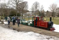 The station in the Pavilion Gardens at Buxton on 1 April 2013 with steam outline 0-6-0 locomotive <I>Edward Milner</I> bringing the last train of the day into the station.<br><br>[John McIntyre&nbsp;01/04/2013]