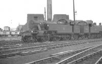Fowler 3P 2-6-2Ts nos 40042 and 40010 stand in Willesden shed sidings in August 1961. Both had been officially withdrawn from 1A the previous month.<br><br>[K A Gray&nbsp;21/08/1961]