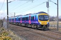 A diverted Edinburgh - Manchester Airport TransPennine service formed by 185119 nears St Germains level crossing on 6 April 2013.<br><br>[Bill Roberton&nbsp;06/04/2013]